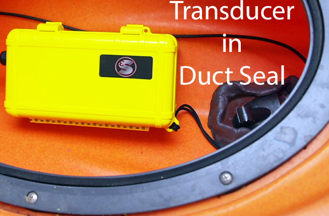 Fish Finder Transducer in Duct Seal Putty