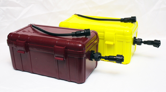 Yellow and Maroon Kayak Battery Boxes