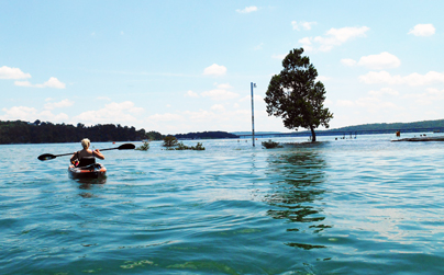 Kayak on Flooded Norfork Lake, Arkansas
