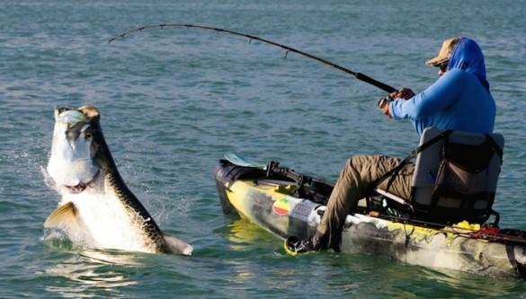 Huge Tarpon from a Kayak