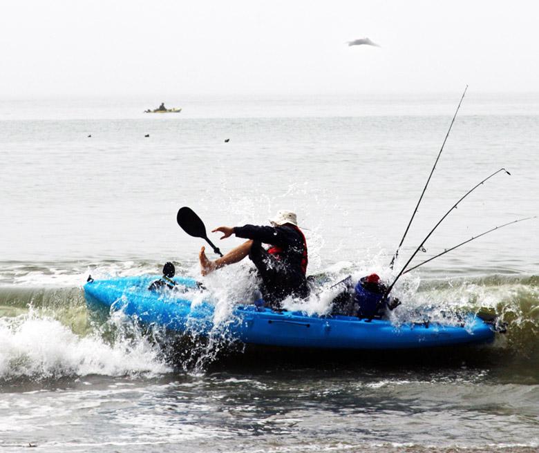 Kayak Sideways in the Surf